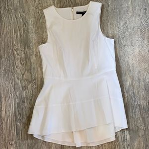 WHBM White Deliah Peplum Blouse Sz 6 NEW!